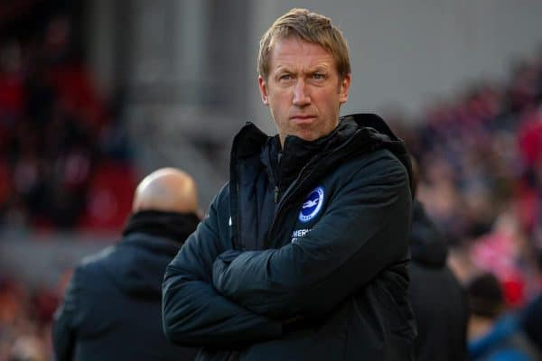 LIVERPOOL, ENGLAND - Saturday, November 30, 2019: manager Graham Potter before the FA Premier League match between Liverpool FC and Brighton & Hove Albion FC at Anfield. (Pic by David Rawcliffe/Propaganda)