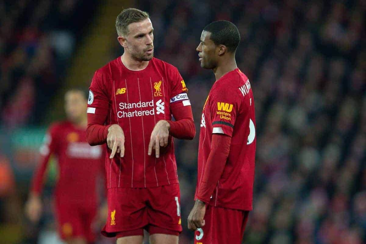 LIVERPOOL, ENGLAND - Saturday, November 30, 2019: Liverpool's captain Jordan Henderson (L) and Georginio Wijnaldum during the FA Premier League match between Liverpool FC and Brighton & Hove Albion FC at Anfield. (Pic by David Rawcliffe/Propaganda)