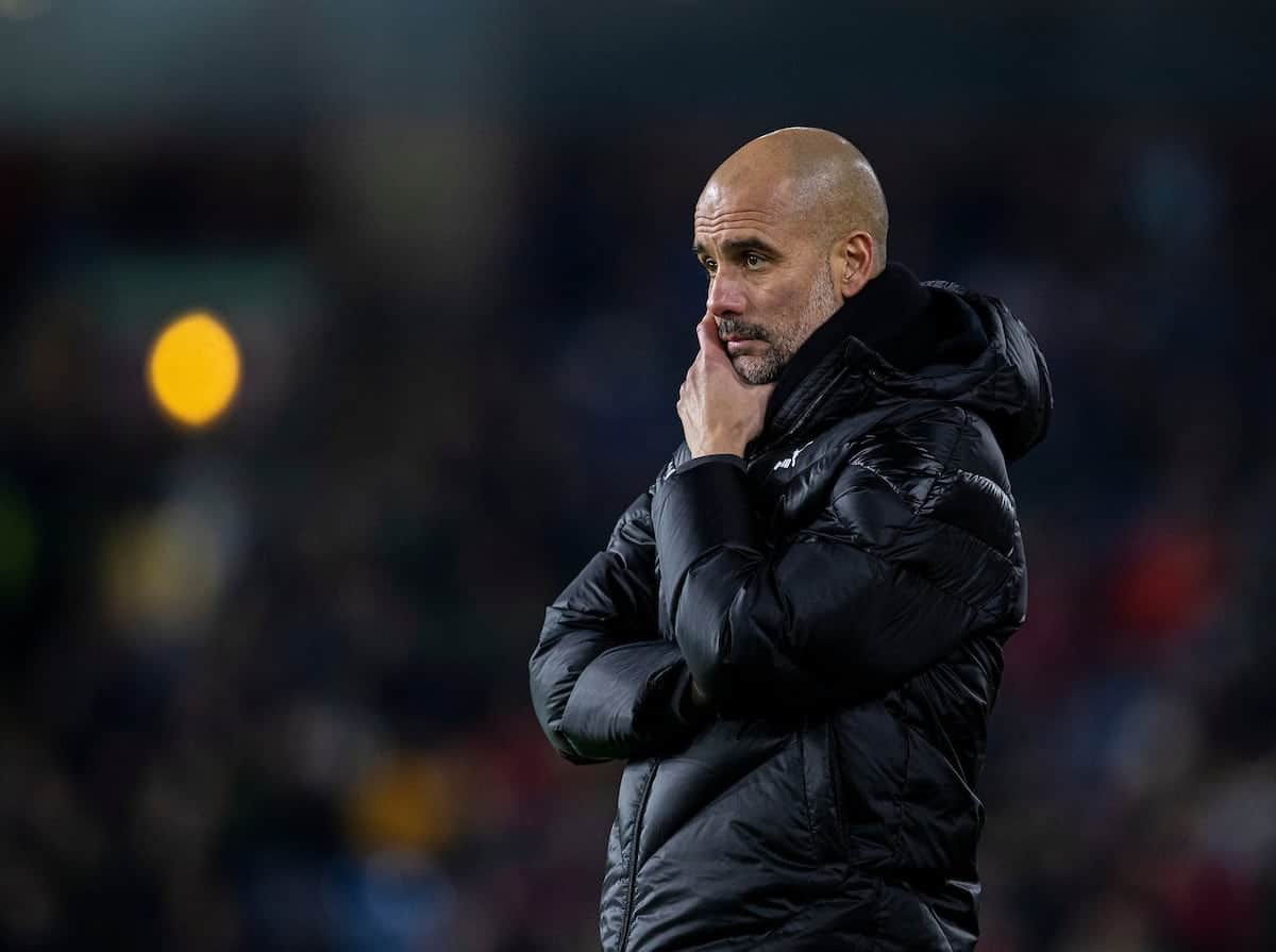 BURNLEY, ENGLAND - Tuesday, December 3, 2019: Manchester City's manager Pep Guardiola during the FA Premier League match between Burnley FC and Manchester City FC at Turf Moor. (Pic by David Rawcliffe/Propaganda)