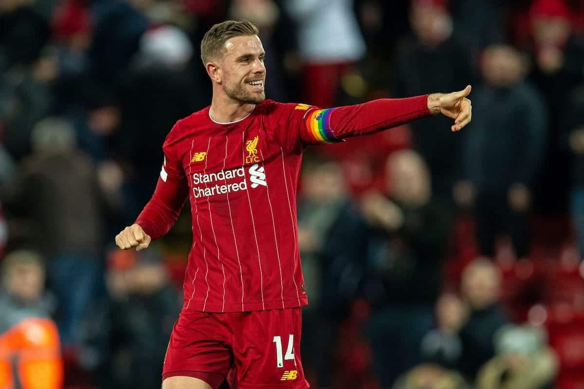 LIVERPOOL, ENGLAND - Wednesday, December 4, 2019: Liverpool's captain Jordan Henderson celebrates after the FA Premier League match between Liverpool FC and Everton FC, the 234th Merseyside Derby, at Anfield. Liverpool won 5-2. (Pic by David Rawcliffe/Propaganda)