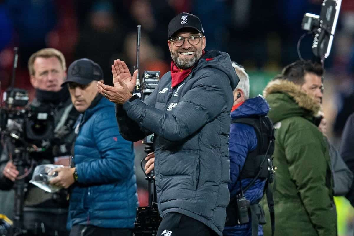 LIVERPOOL, ENGLAND - Wednesday, December 4, 2019: Liverpool's manager Jürgen Klopp celebrates after the FA Premier League match between Liverpool FC and Everton FC, the 234th Merseyside Derby, at Anfield. Liverpool won 5-2. (Pic by David Rawcliffe/Propaganda)