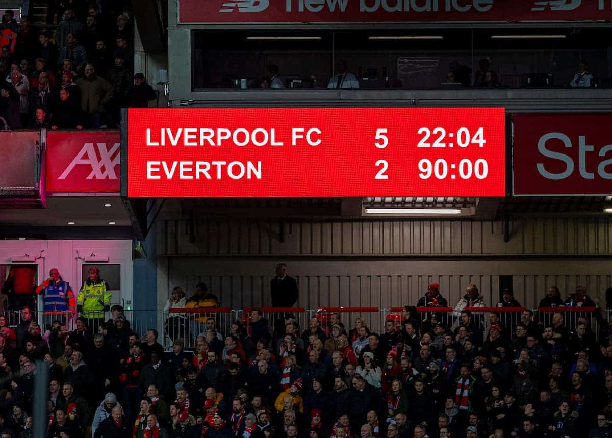 LIVERPOOL, ENGLAND - Wednesday, December 4, 2019: Liverpool's scoreboard records the 5-2 victory during the FA Premier League match between Liverpool FC and Everton FC, the 234th Merseyside Derby, at Anfield. (Pic by David Rawcliffe/Propaganda)
