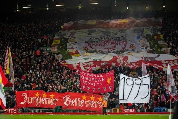 "Liverpool supporters on the Spion Kop with a banner ""1995"", the year Everton last won a trophy, during the FA Premier League match between Liverpool FC and Everton FC, the 234th Merseyside Derby, at Anfield. (Pic by David Rawcliffe/Propaganda)"