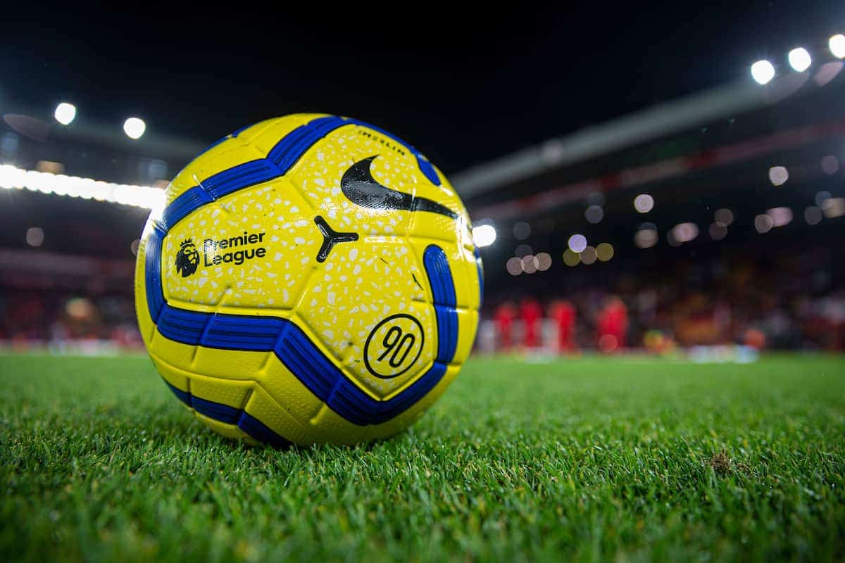 LIVERPOOL, ENGLAND - Wednesday, December 4, 2019: Yellow Nike Merlin Premier League match ball during the FA Premier League match between Liverpool FC and Everton FC, the 234th Merseyside Derby, at Anfield. (Pic by David Rawcliffe/Propaganda)