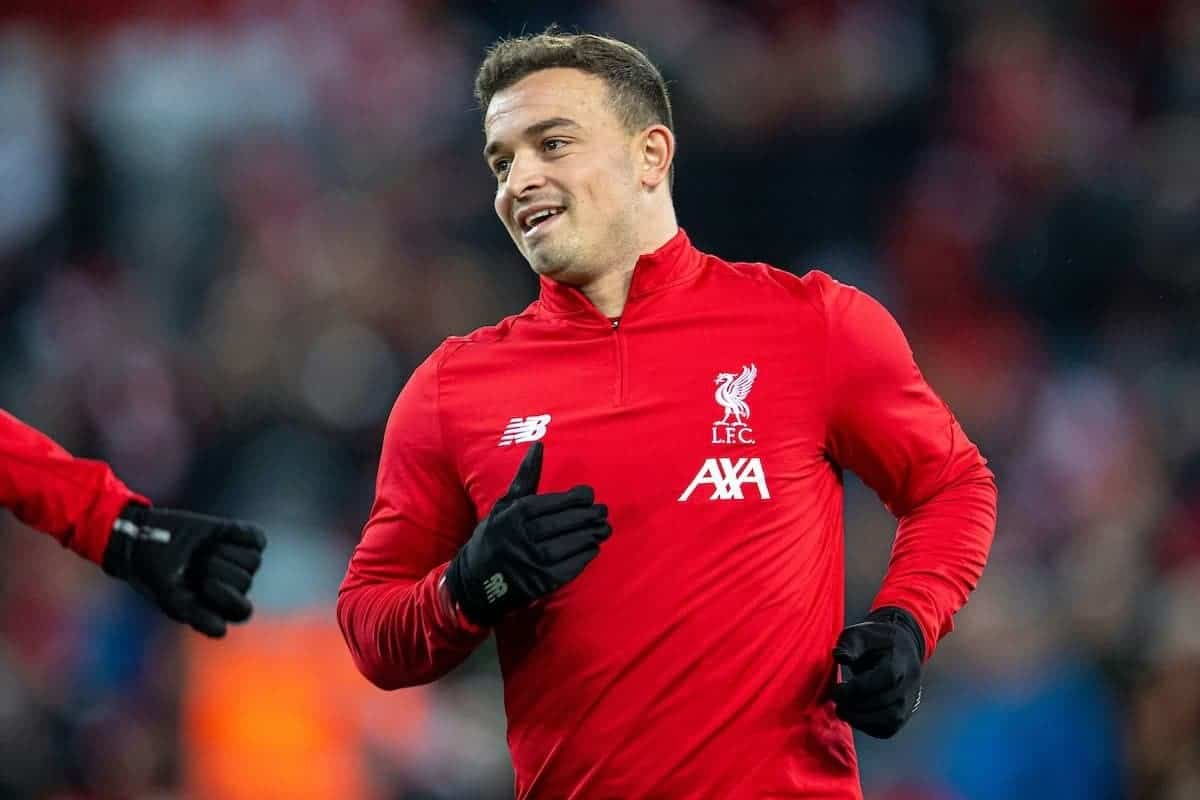 LIVERPOOL, ENGLAND - Wednesday, December 4, 2019: Liverpools Xherdan Shaqiri during the pre-match warm-up before the FA Premier League match between Liverpool FC and Everton FC, the 234th Merseyside Derby, at Anfield. (Pic by David Rawcliffe/Propaganda)