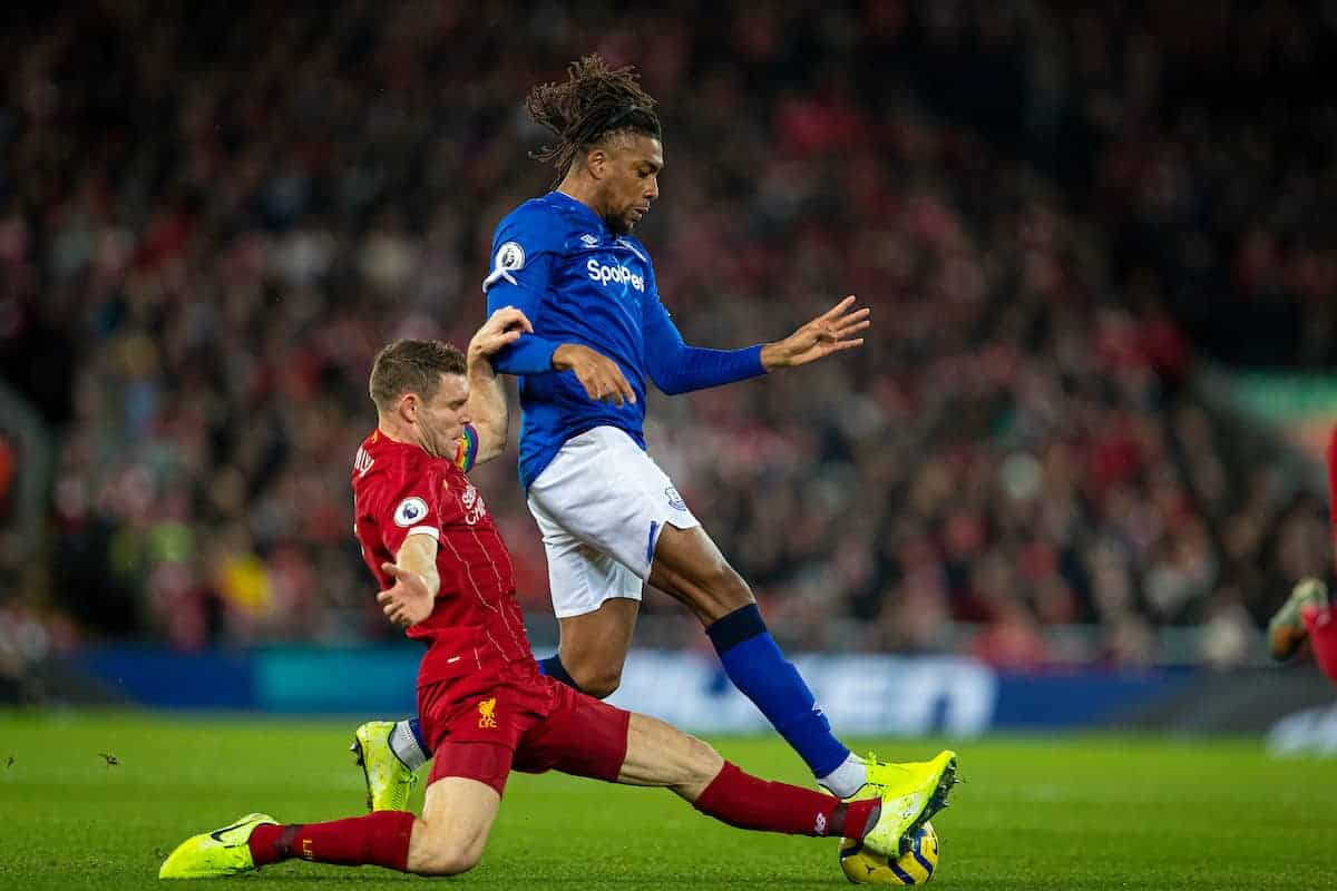LIVERPOOL, ENGLAND - Wednesday, December 4, 2019: Liverpools James Milner (L) tackles Everton's Alex Iwobi during the FA Premier League match between Liverpool FC and Everton FC, the 234th Merseyside Derby, at Anfield. (Pic by David Rawcliffe/Propaganda)