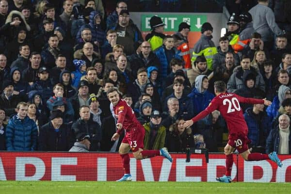LIVERPOOL, ENGLAND - Wednesday, December 4, 2019: Liverpools Xherdan Shaqiri celebrates scoring the second goal during the FA Premier League match between Liverpool FC and Everton FC, the 234th Merseyside Derby, at Anfield. (Pic by David Rawcliffe/Propaganda)