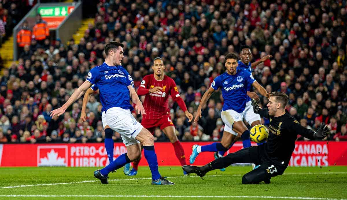 LIVERPOOL, ENGLAND - Wednesday, December 4, 2019: Everton's Michael Keane scores his side's first goal past Liverpool's goalkeeper Adrián San Miguel del Castillo to make the score 2-1 during the FA Premier League match between Liverpool FC and Everton FC, the 234th Merseyside Derby, at Anfield. (Pic by David Rawcliffe/Propaganda)