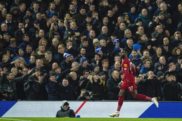 Liverpools Divock Origi celebrates scoring the third goal, his second of the game, during the FA Premier League match between Liverpool FC and Everton FC, the 234th Merseyside Derby, at Anfield. (Pic by David Rawcliffe/Propaganda)