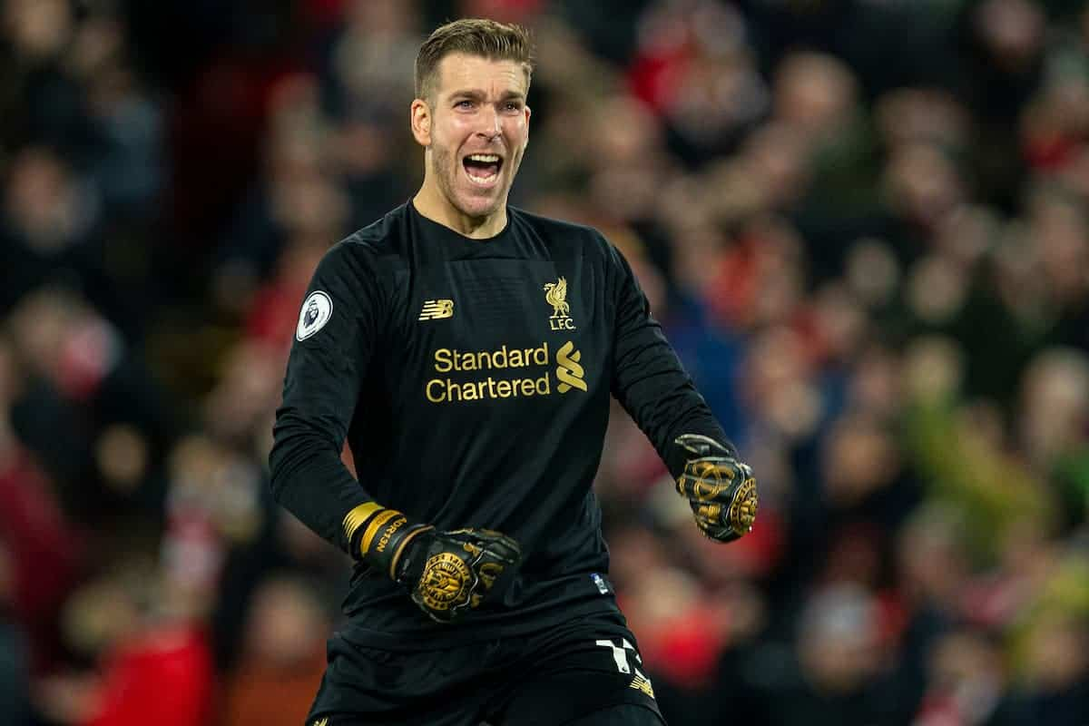 LIVERPOOL, ENGLAND - Wednesday, December 4, 2019: Liverpools goalkeeper Adrián San Miguel del Castillo celebrates his side's third goal during the FA Premier League match between Liverpool FC and Everton FC, the 234th Merseyside Derby, at Anfield. (Pic by David Rawcliffe/Propaganda)