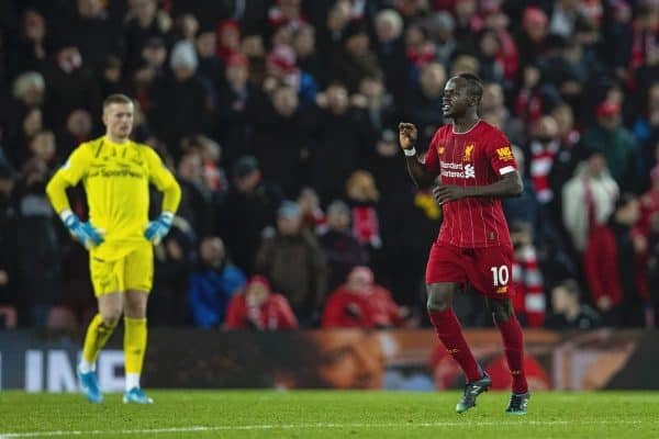 LIVERPOOL, ENGLAND - Wednesday, December 4, 2019: Liverpools Sadio Mané celebrates scoring the fourth goal during the FA Premier League match between Liverpool FC and Everton FC, the 234th Merseyside Derby, at Anfield. (Pic by David Rawcliffe/Propaganda)