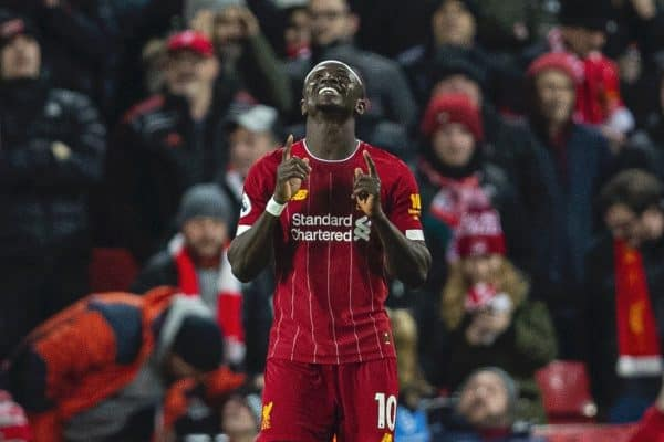 Liverpools Sadio Mané celebrates scoring the fourth goal during the FA Premier League match between Liverpool FC and Everton FC, the 234th Merseyside Derby, at Anfield. (Pic by David Rawcliffe/Propaganda)
