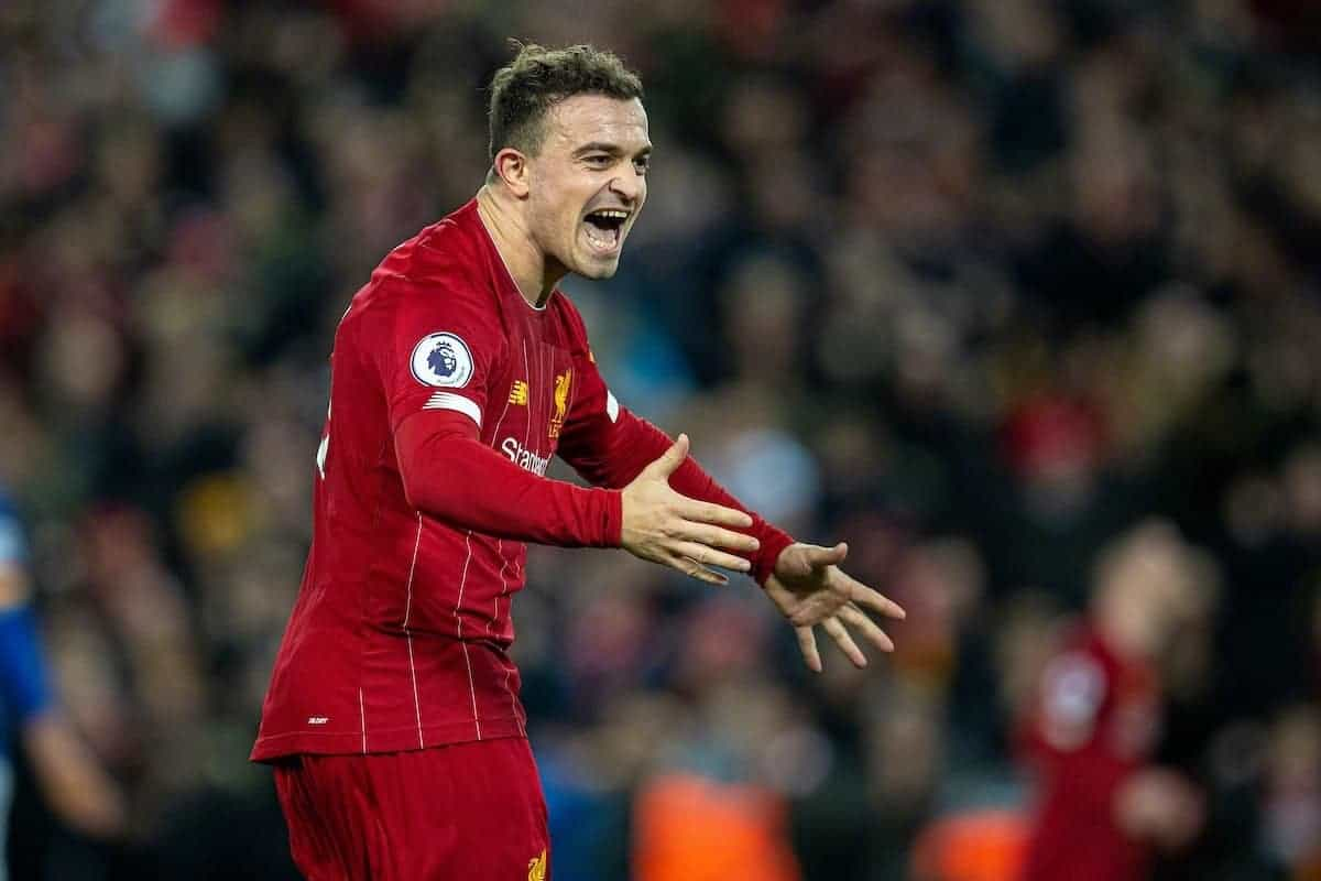 LIVERPOOL, ENGLAND - Wednesday, December 4, 2019: Liverpool's Xherdan Shaqiri celebrates his side's fifth goal during the FA Premier League match between Liverpool FC and Everton FC, the 234th Merseyside Derby, at Anfield. Liverpool won 5-2. (Pic by David Rawcliffe/Propaganda)