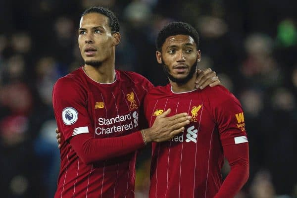 LIVERPOOL, ENGLAND - Wednesday, December 4, 2019: Liverpool's (L-R) Georginio Wijnaldum, Virgil van Dijk and Joe Gomez after the FA Premier League match between Liverpool FC and Everton FC, the 234th Merseyside Derby, at Anfield. Liverpool won 5-2. (Pic by David Rawcliffe/Propaganda)