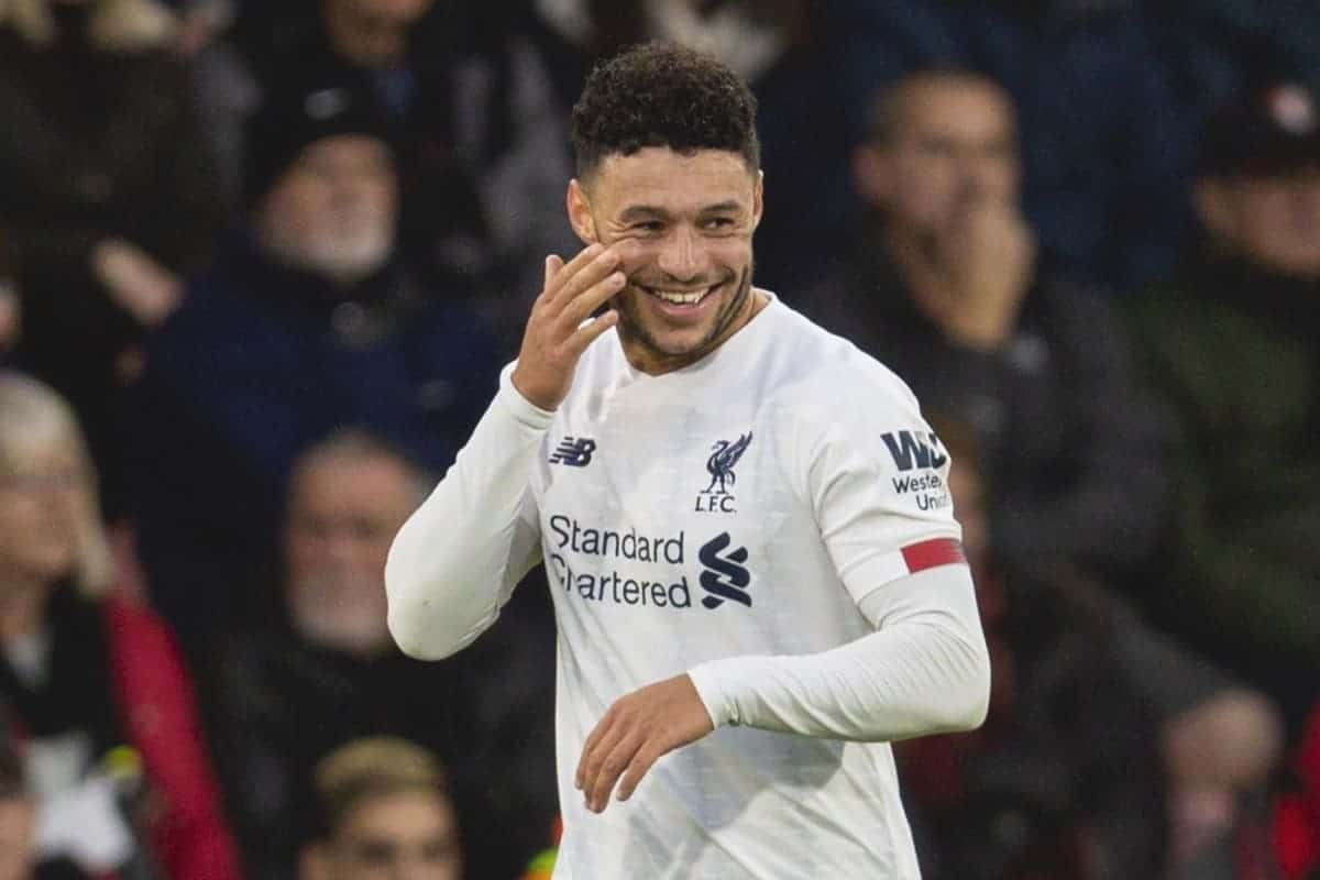 BOURNEMOUTH, ENGLAND - Saturday, December 7, 2019: Liverpool's Alex Oxlade-Chamberlain celebrates scoring the first goal during the FA Premier League match between AFC Bournemouth and Liverpool FC at the Vitality Stadium. (Pic by David Rawcliffe/Propaganda)
