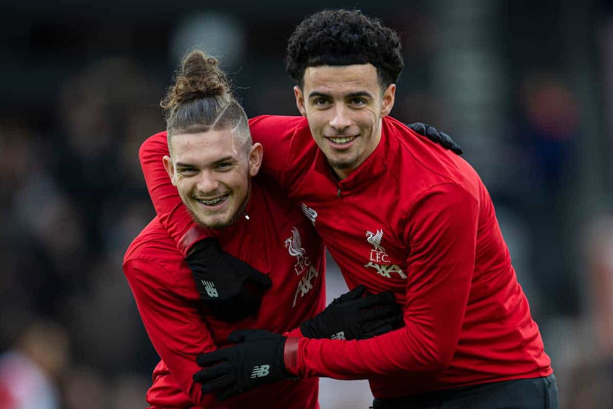 BOURNEMOUTH, ENGLAND - Saturday, December 7, 2019: Liverpool's substitutes Harvey Elliott (L) and Curtis Jones during the pre-match warm-up before the FA Premier League match between AFC Bournemouth and Liverpool FC at the Vitality Stadium. (Pic by David Rawcliffe/Propaganda)