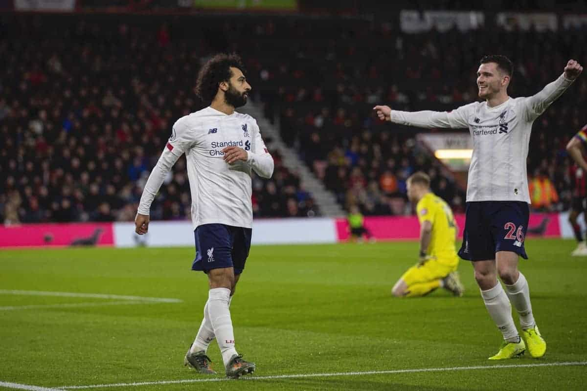 BOURNEMOUTH, ENGLAND - Saturday, December 7, 2019: Liverpool's Mohamed Salah (L) celebrates scoring the third goal with team-mate Andy Robertson during the FA Premier League match between AFC Bournemouth and Liverpool FC at the Vitality Stadium. (Pic by David Rawcliffe/Propaganda)