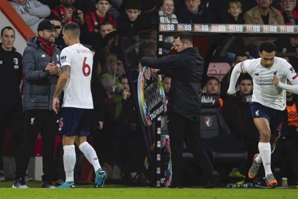 BOURNEMOUTH, ENGLAND - Saturday, December 7, 2019: Liverpool's Dejan Lovren shakes hands with manager Jürgen Klopp as he is substituted for Trent Alexander-Arnold during the FA Premier League match between AFC Bournemouth and Liverpool FC at the Vitality Stadium. (Pic by David Rawcliffe/Propaganda)