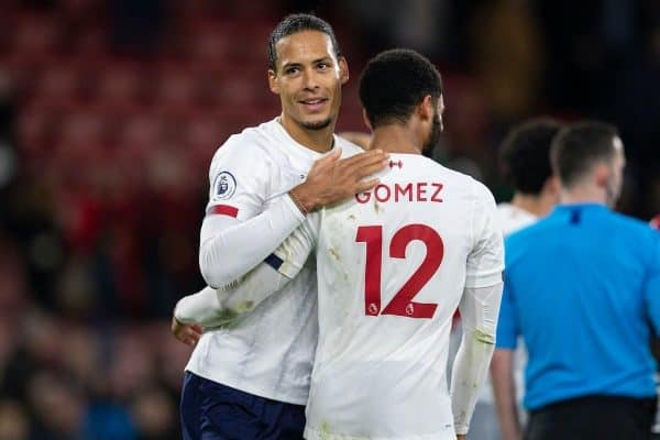 BOURNEMOUTH, ENGLAND - Saturday, December 7, 2019: Liverpool's Virgil van Dijk (L) celebrates with team-mate Joe Gomez after the FA Premier League match between AFC Bournemouth and Liverpool FC at the Vitality Stadium. Liverpool won 3-0. (Pic by David Rawcliffe/Propaganda)