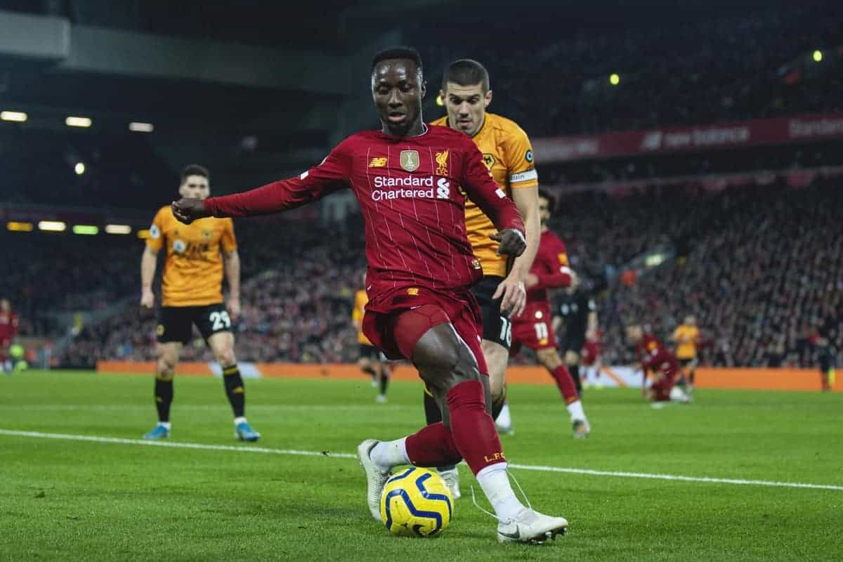LIVERPOOL, ENGLAND - Sunday, December 29, 2019: Liverpool's Naby Keita during the FA Premier League match between Liverpool FC and Wolverhampton Wanderers FC at Anfield. (Pic by Richard Roberts/Propaganda)