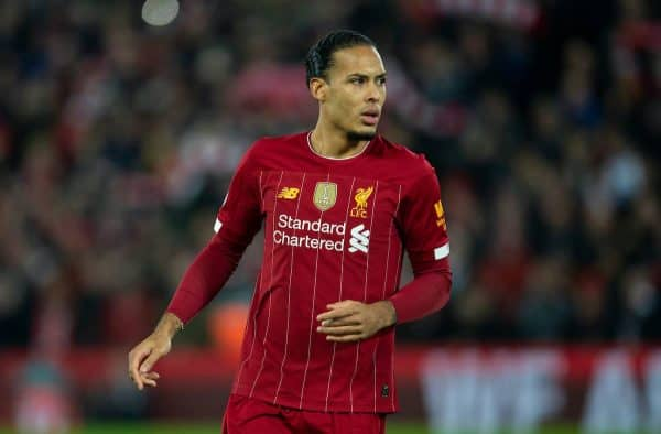 LIVERPOOL, ENGLAND - Sunday, December 29, 2019: Liverpool's Virgil van Dijk during the FA Premier League match between Liverpool FC and Wolverhampton Wanderers FC at Anfield. (Pic by Richard Roberts/Propaganda)