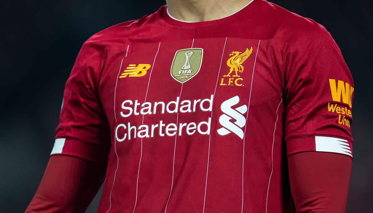 LIVERPOOL, ENGLAND - Sunday, December 29, 2019: The gold FIFA Club World Cup winners' badge on Liverpool's shirt during the FA Premier League match between Liverpool FC and Wolverhampton Wanderers FC at Anfield. (Pic by Richard Roberts/Propaganda)