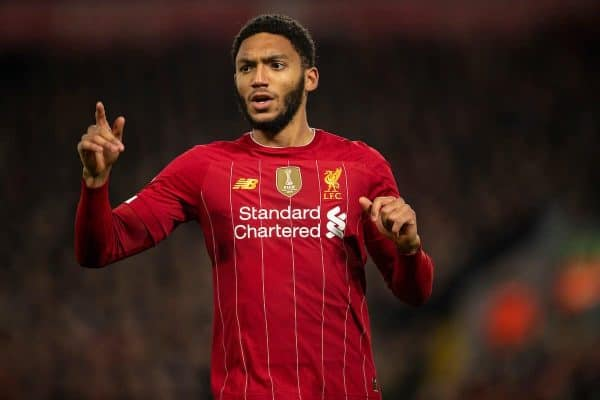 LIVERPOOL, ENGLAND - Sunday, December 29, 2019: Liverpool's Joe Gomez during the FA Premier League match between Liverpool FC and Wolverhampton Wanderers FC at Anfield. (Pic by Richard Roberts/Propaganda)