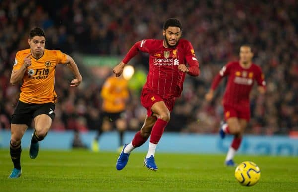 LIVERPOOL, ENGLAND - Sunday, December 29, 2019: The gold FIFA Club World Cup winners' badge on the shirt of Liverpool's Joe Gomez during the FA Premier League match between Liverpool FC and Wolverhampton Wanderers FC at Anfield. (Pic by Richard Roberts/Propaganda)