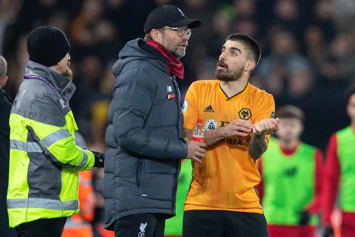 LIVERPOOL, ENGLAND - Sunday, December 29, 2019: Wolverhampton Wanderers' Rúben Neves complains to Liverpool's manager Jürgen Klopp as the Reds score the first goal after a VAR review during the FA Premier League match between Liverpool FC and Wolverhampton Wanderers FC at Anfield. (Pic by Richard Roberts/Propaganda)