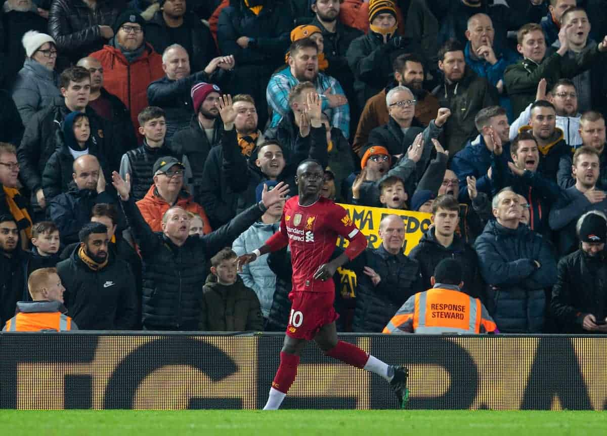Liverpool's Sadio Mané celebrates scoring the first goal during the FA Premier League match between Liverpool FC and Wolverhampton Wanderers FC at Anfield. (Pic by Richard Roberts/Propaganda)