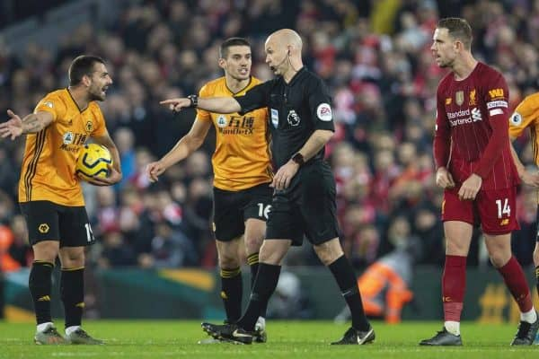 LIVERPOOL, ENGLAND - Sunday, December 29, 2019: Wolverhampton Wanderers' captain Conor Coady complains to referee Anthony Taylor after their goal was disallowed after a VAR review during the FA Premier League match between Liverpool FC and Wolverhampton Wanderers FC at Anfield. (Pic by Richard Roberts/Propaganda)