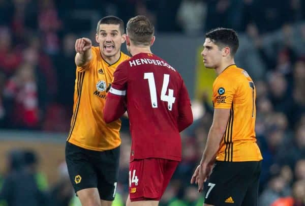 LIVERPOOL, ENGLAND - Sunday, December 29, 2019: Wolverhampton Wanderers' captain Conor Coady complains to captain Jordan Henderson after their goal was disallowed after a VAR review during the FA Premier League match between Liverpool FC and Wolverhampton Wanderers FC at Anfield. (Pic by Richard Roberts/Propaganda)