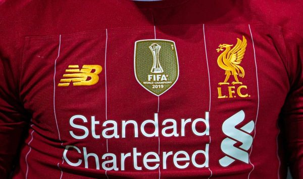 LIVERPOOL, ENGLAND - Sunday, December 29, 2019: Liverpool's shirt featuring the gold FIFA Club World Cup winners' badge during the FA Premier League match between Liverpool FC and Wolverhampton Wanderers FC at Anfield. (Pic by Richard Roberts/Propaganda)
