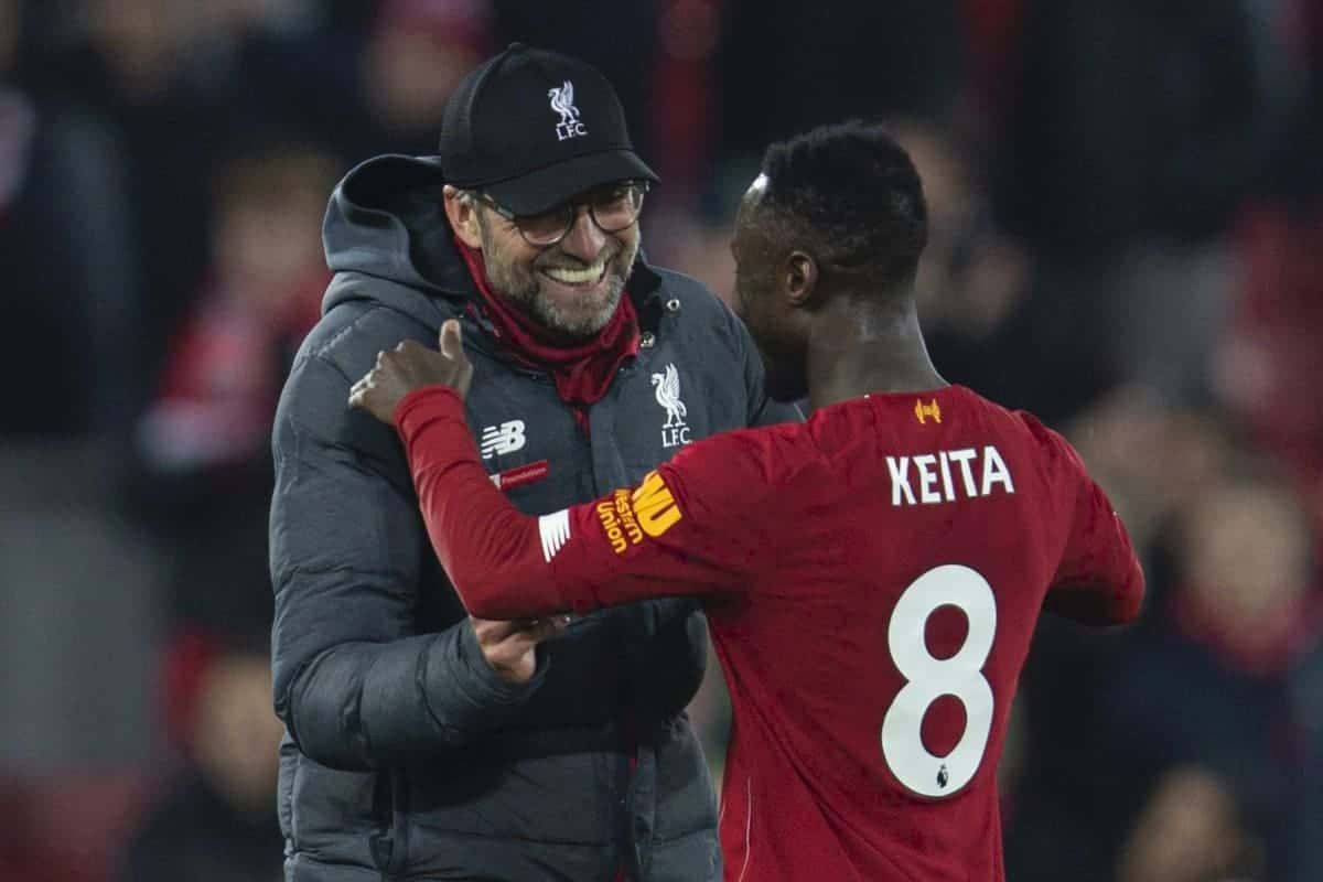 LIVERPOOL, ENGLAND - Sunday, December 29, 2019: Liverpool's manager Jürgen Klopp celebrateswith Naby Keita after the FA Premier League match between Liverpool FC and Wolverhampton Wanderers FC at Anfield. Liverpool won 1-0. (Pic by David Rawcliffe/Propaganda)