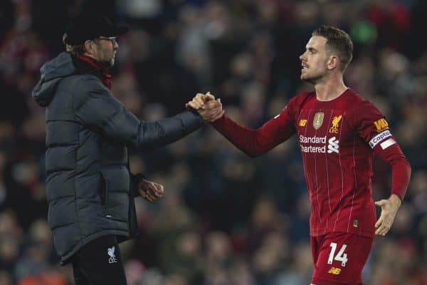 Liverpool's manager Jürgen Klopp celebrates with captain Jordan Henderson after the FA Premier League match between Liverpool FC and Wolverhampton Wanderers FC at Anfield. Liverpool won 1-0. (Pic by David Rawcliffe/Propaganda)