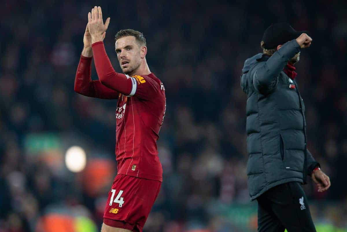 LIVERPOOL, ENGLAND - Sunday, December 29, 2019: Liverpool's captain Jordan Henderson celebrates after the FA Premier League match between Liverpool FC and Wolverhampton Wanderers FC at Anfield. Liverpool won 1-0. (Pic by David Rawcliffe/Propaganda)