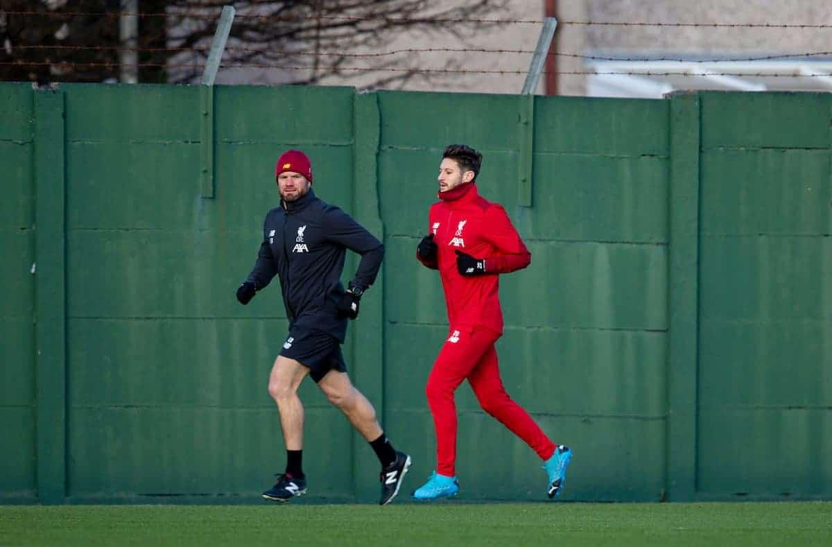 LIVERPOOL, ENGLAND - Monday, December 9, 2019: Liverpool's Adam Lallana during a training session at Melwood Training Ground ahead of the UEFA Champions League Group E match between FC Salzburg and Liverpool FC. (Pic by David Rawcliffe/Propaganda)
