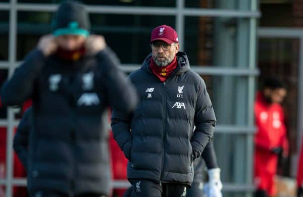 LIVERPOOL, ENGLAND - Monday, December 9, 2019: Liverpool's manager Jürgen Klopp during a training session at Melwood Training Ground ahead of the UEFA Champions League Group E match between FC Salzburg and Liverpool FC. (Pic by David Rawcliffe/Propaganda)