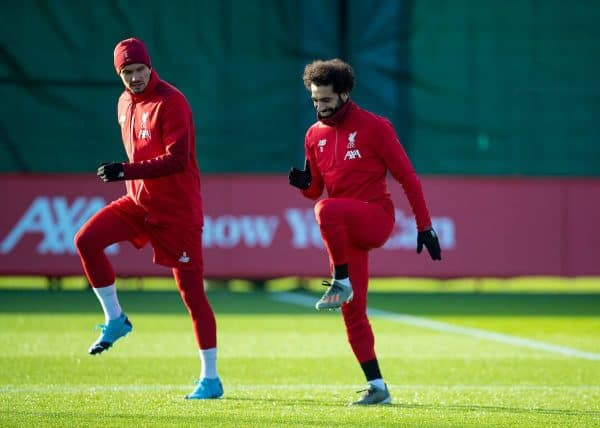 LIVERPOOL, ENGLAND - Monday, December 9, 2019: Liverpool's Dejan Lovren (L) and Mohamed Salah during a training session at Melwood Training Ground ahead of the UEFA Champions League Group E match between FC Salzburg and Liverpool FC. (Pic by David Rawcliffe/Propaganda)