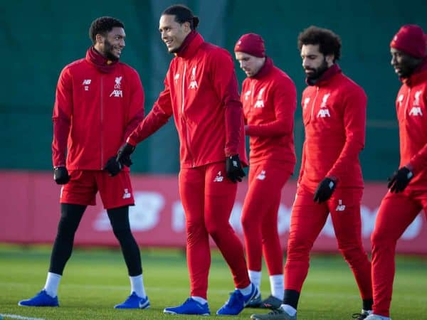 LIVERPOOL, ENGLAND - Monday, December 9, 2019: Liverpool's Joe Gomez, Virgil van Dijk, captain Jordan Henderson, Mohamed Salah during a training session at Melwood Training Ground ahead of the UEFA Champions League Group E match between FC Salzburg and Liverpool FC. (Pic by David Rawcliffe/Propaganda)