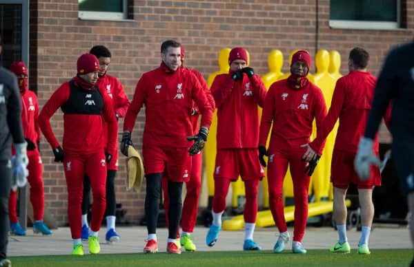 LIVERPOOL, ENGLAND - Monday, December 9, 2019: Liverpool's (L-R) Alex Oxlade-Chamberlain, goalkeeper Adrián San Miguel del Castillo, Dejan Lovren and Georginio Wijnaldum during a training session at Melwood Training Ground ahead of the UEFA Champions League Group E match between FC Salzburg and Liverpool FC. (Pic by David Rawcliffe/Propaganda)