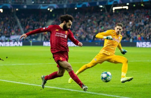 Liverpool's Mohamed Salah scores the second goal during the final UEFA Champions League Group E match between FC Salzburg and Liverpool FC at the Red Bull Arena. (Pic by David Rawcliffe/Propaganda)