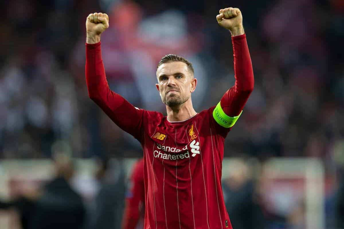 SALZBURG, AUSTRIA - Tuesday, December 10, 2019: Liverpool's captain Jordan Henderson celebrates afterfinal UEFA Champions League Group E match between FC Salzburg and Liverpool FC at the Red Bull Arena. Liverpoolwon 2-0. (Pic by David Rawcliffe/Propaganda)