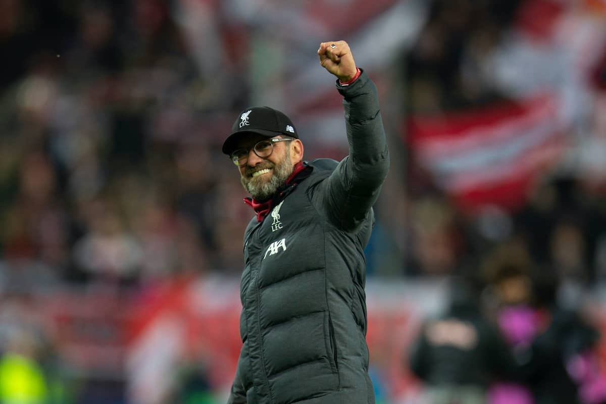 SALZBURG, AUSTRIA - Tuesday, December 10, 2019: Liverpool's manager Jürgen Klopp celebrates afterfinal UEFA Champions League Group E match between FC Salzburg and Liverpool FC at the Red Bull Arena. Liverpoolwon 2-0. (Pic by David Rawcliffe/Propaganda)