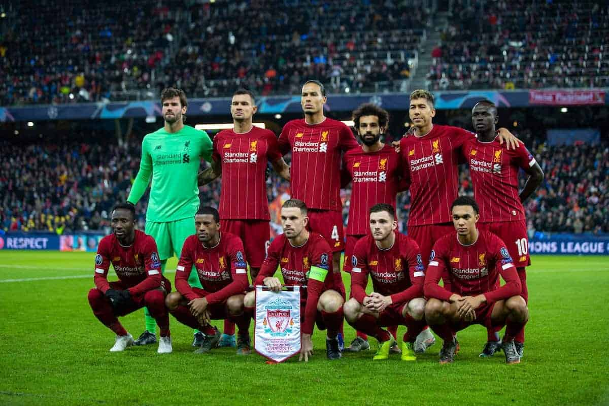 SALZBURG, AUSTRIA - Tuesday, December 10, 2019: Liverpool's players line-up for a team group photograph before the final UEFA Champions League Group E match between FC Salzburg and Liverpool FC at the Red Bull Arena. Back row L-R: goalkeeper Alisson Becker, Dejan Lovren, Virgil van Dijk, Mohamed Salah, Roberto Firmino, Sadio Mané. Front row L-R: Naby Keita, Georginio Wijnaldum, captain Jordan Henderson, Andy Robertson, Trent Alexander-Arnold. (Pic by David Rawcliffe/Propaganda)
