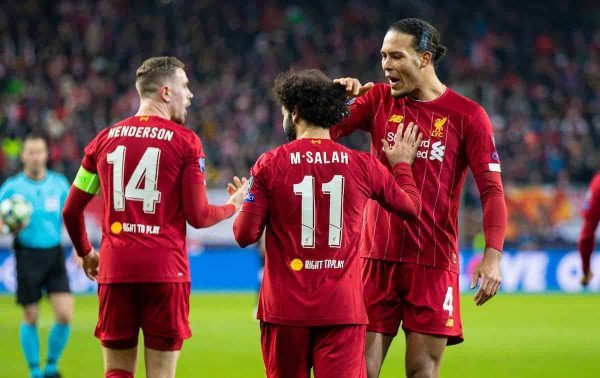 SALZBURG, AUSTRIA - Tuesday, December 10, 2019: Liverpool's Mohamed Salah (C) celebrates scoring the second goal with team-mates captain Jordan Henderson (L) and Virgil van Dijk (R) during the final UEFA Champions League Group E match between FC Salzburg and Liverpool FC at the Red Bull Arena. (Pic by David Rawcliffe/Propaganda)