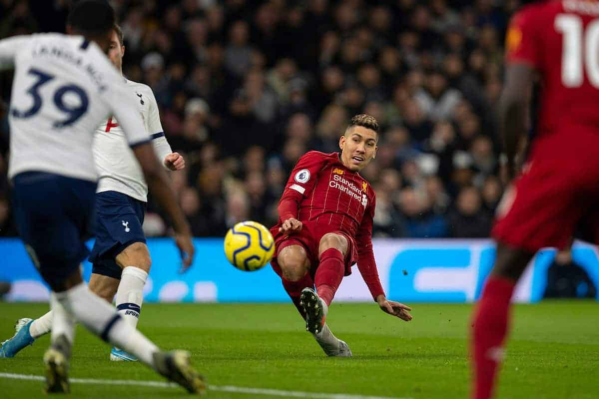 LONDON, ENGLAND - Saturday, January 11, 2020: Liverpool's Roberto Firmino shoots during the FA Premier League match between Tottenham Hotspur FC and Liverpool FC at the Tottenham Hotspur Stadium. (Pic by David Rawcliffe/Propaganda)