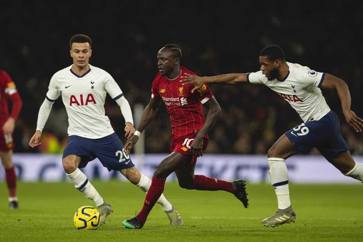 LONDON, ENGLAND - Saturday, January 11, 2020: Liverpool's Sadio Mané is pulled back by Tottenham Hotspur's Japhet Tanganga during the FA Premier League match between Tottenham Hotspur FC and Liverpool FC at the Tottenham Hotspur Stadium. (Pic by David Rawcliffe/Propaganda)