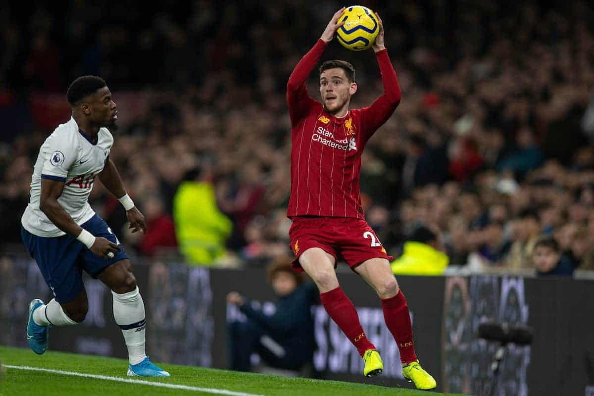 LONDON, ENGLAND - Saturday, January 11, 2020: Liverpool's Andy Robertson takes a throw-in during the FA Premier League match between Tottenham Hotspur FC and Liverpool FC at the Tottenham Hotspur Stadium. (Pic by David Rawcliffe/Propaganda)