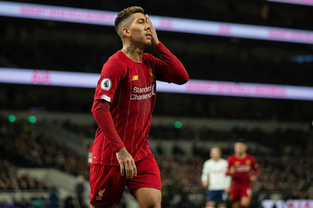 LONDON, ENGLAND - Saturday, January 11, 2020: Liverpool's Roberto Firmino during the FA Premier League match between Tottenham Hotspur FC and Liverpool FC at the Tottenham Hotspur Stadium. (Pic by David Rawcliffe/Propaganda)